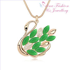 18K Gold Plated Simulated Opal Diamond Elegant Swan Emerald Long Necklace