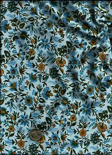 """Indienne Exotics"" Print blue golden yellow olive on med blue Fabric by Blank"