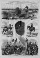 BUFFALO HUNTING ON THE PLAINS BY UNITED STATES ARMY OFFICERS AND GEORGE CUSTER