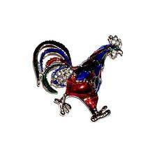 Tone Enamels Cocky Rooster Brooch/Pin Rhinestones & Brilliant Jewel