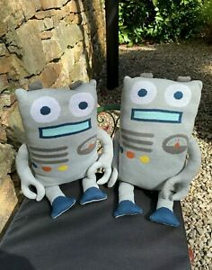 2 Of Dunelm Robot Design Shape Cushions - Metallic Silver Grey - Home Decor