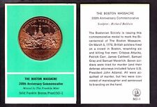 US Franklin Mint Bronze Proof Medal The Boston Massacre