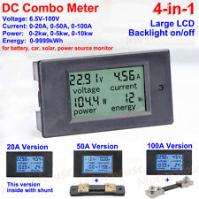 4 in 1  DC Combo Meter Large LCD Voltage Current KWh Watt Car Battery Monitor