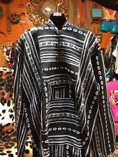 Baja bajas Surfer drug Rug Hippie Hoodie Gheri  Black White  Toggle Loop XXL