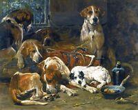 JOHN EMMS, HOUND DOGS, TERRIER, AFTER A HUNT, ANTIQUE, BEAUTIFUL ART PRINT
