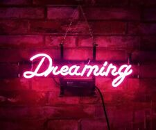 """Dreaming Pink Dreamer 14""""x10"""" Neon Sign Lamp Light Beer Bar With Dimmer"""