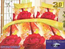 135x200 3D Bettwäsche 3tlg Bettwäscheset mit RV 100% Mikrofaser Blumen-Motiv (5)
