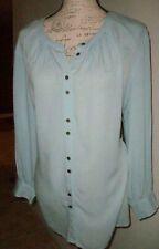 A.N.A. Womens Top Blouse Size Petite Medium Blue Mandarin Collar Long Sleeves
