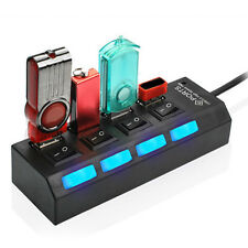 LED 4 Port USB 2.0 Hub High Speed Power On/Off Button Switch Laptop PC 4-port