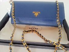 NEW w/Box PRADA Saffiano Leather Wallet on Chain Shoulder Bag Clutch Blue