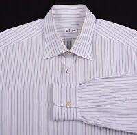 Kiton Blue Gray Striped 100% Cotton Spread Collar Button Down Dress Shirt 16.5