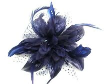 Gorgeous Hair Flower Wedding Flower Fascinator On Comb Flower Size 12 cm Navy