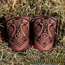 Leather Cuff LARP Bracers Nordic Celtic Vikings Thor's Hammer design. A pair !