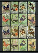Malaysia 1970 National Butterflies 2 Types of Printing Complete Fine Used Sets