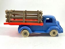 Vintage 1950s Banner toys Pickup Truck with Stake Bed Plastic Blue Red Brown 5