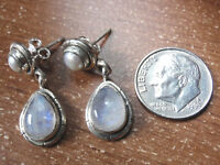 Moonstone Cultured Pearl 925 Sterling Silver Stud Earrings with Grooved Accents