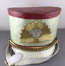 Vintage Marching Band Majorette Drum Major Hat Red & White Gold Music Emblem