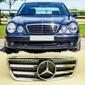 2000-2002 E300 E320 E430 For Benz W210 Front Grill Gloss Black + Chrome Facelift