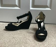 fb145f5e573b Ladies Black Suede Sandals  No Doubt  Wedge Heel