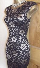 Jane Norman ❤️ Black Gold Lace bodycon Wiggle dress size 10 12 Wedding Party