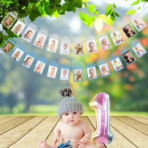 Baby 1st Birthday Recording Banner 1-12 Month Boy Girl Party Photo Bunting Decor