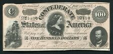 T-65 1864 $100 ONE HUNDRED DOLLARS CSA CONFEDERATE STATES OF AMERICA NOTE AU