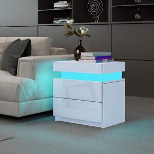 Weiß Schwarz Nachttisch Nachttisch Hochglanz mit 2 Schubladen LED Licht