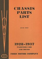 Chassis Parts List 1928-1937 Passenger Cars & Trucks