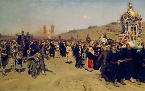 Ilya Repin Religious Procession in Kursk Gubernia Giclee Canvas Print  Poster