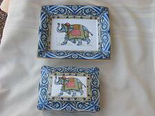 Wedgwood China Blue Elephant Rectangular Tray, Playing Card Box, Lid England 3P