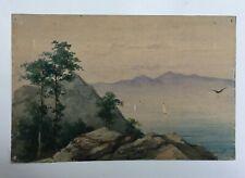 Aquarelle signée M. Blairat, Paysage lacustre, XIXe