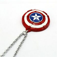 Avenger Movie Jewelry Captain America Necklace Red Shield Pendant Metal Chain