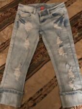 Ladies Almost Famous Destroyed Blue Jeans Sz O Free Shipping!