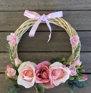 Mothers Day Pink  Rose Faux Flower Abamboo Hoop