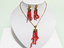 18k Yellow Gold Necklace & Earrings Set with Coral Branches 14k Yellow Gold Chai