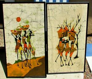 F. Musaazi Pair of African Art Batik Textile Wall Hanging paintings Circa 1980's