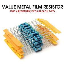 1% 1W 100 Value Metal Film Resistor Resistance Assorted Kit 1 ohm-1M ohm 1000pcs