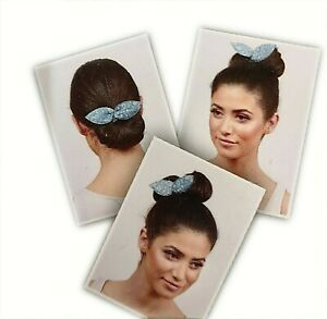 BLUE Bun Bow Maker Hair Clip Bowknot Ponytail Wrap Accessory Donut Rabbit Ears