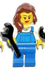 LEGO MRS. FIX-IT MINIFIGURE City Female Girl Brunette/Overalls/Mechanic/Plumber