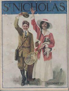 1917 St. Nicholas September - Tennis; Japanese Spaniel; Fishing for Trout; Moro