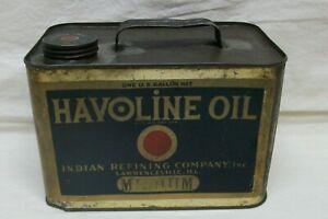 """Vintage """"Havoline Oil"""" Gallon Square Can """"Indian Oil Co"""" (Pre-Texeco) Medium"""