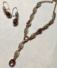 Avon Purple Faux Moonstone Glass Filigree Lavaliere Necklace & Earrings Set