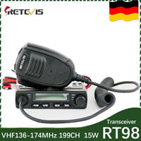 Amateur Retevis RT98 VHF Transceiver 15W/10W/5W LCD 199CH 1024DCS 51CTCSS+USB