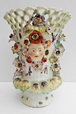 Derby Frill Vase Flower Encrusted Reticulated Protruding Faces C1760 No2