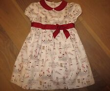 EUC Janie and Jack Original London Town Ivory Red Dress Girl 3T