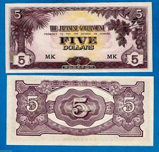 """Carta de bloque raro """"Mk"""" en UNC M6c 5 dólares japonesa Malaya Govt la segunda guerra mundial 1942 cada uno"""