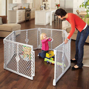 Home Indoor Outdoor Safety Baby Toddler Child Pet Plastic Play Yard w/ Gate