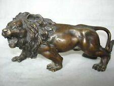 Sculpture de lion en bronze, africaine, à collectionner, féroce
