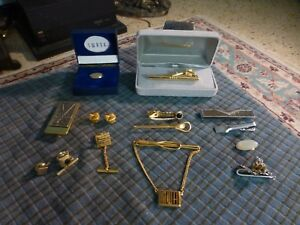 Vintage SWANK ANSON ECT Silver & Gold Tone Tie Tack & Clip Lot Of 14 Pieces VG !