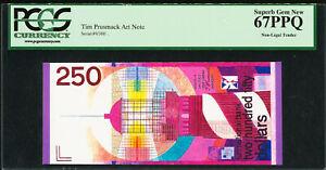 Tim Prusmack Money Art Note Netherlands 250 Gulden 9/300 Sup GEM UNC PCGS 67 PPQ